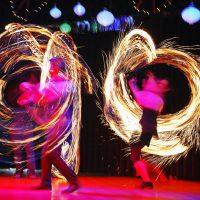 Feuershow am Aufführungstag